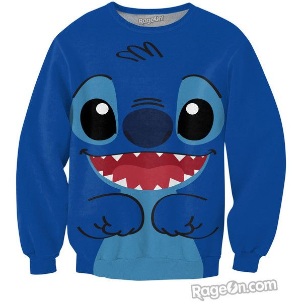Stitch Crewneck Sweatshirt ($60) ❤ liked on Polyvore featuring tops, hoodies, sweatshirts, shirts, sweaters, sweatshirt, disney, blue crew neck sweatshirt, crew neck top and crew-neck sweatshirts