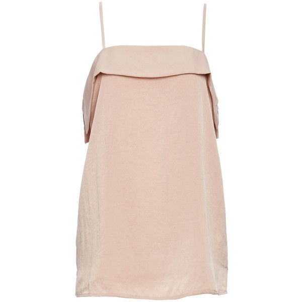 Minerva Folded Neckline Cami Top (€51) ❤ liked on Polyvore featuring tops, beige, cami tank, cami tank tops, beige top, pink top and camisole tank top