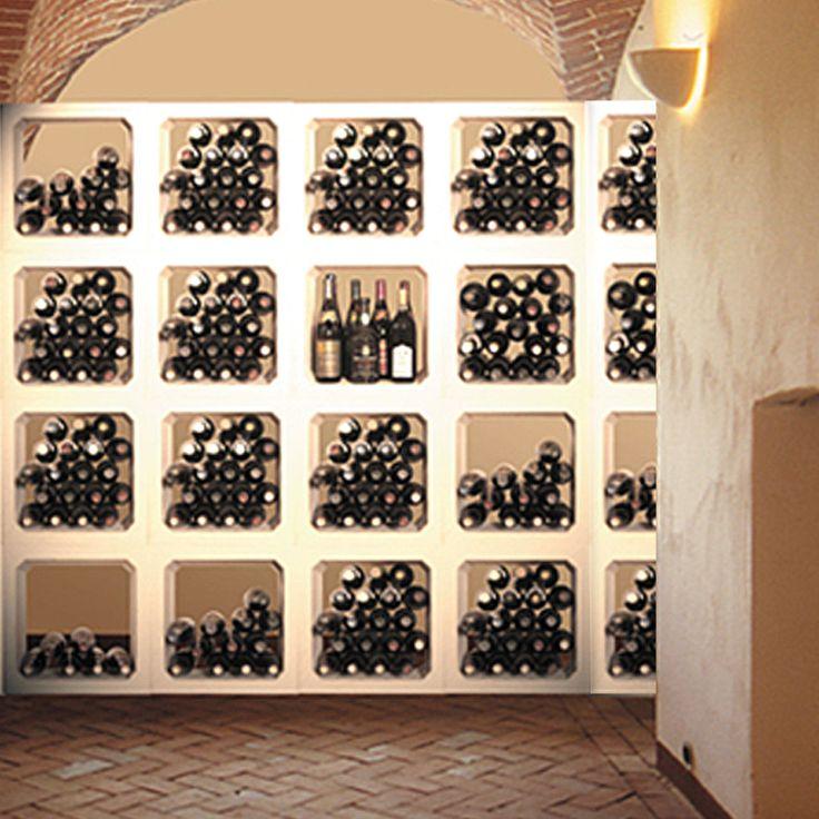 Weinregal italia der klassische weinlagerstein modular erweiterbar mit wohlf hlklima - Flaschenregal selber bauen stein ...