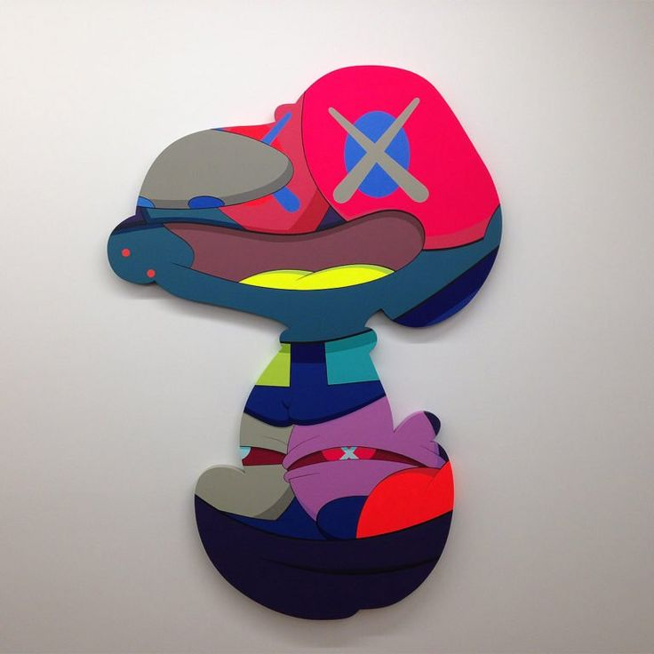 """""""KAWS"""" is a graffiti artist, illustrator, painter, sculptor, product designer, and toymaker. """"His cartoonish style—including his best-known characters with X-ed out eyes—has its roots in his early career as a street artist, when he began replacing advertisements with his own, masterful acrylic paintings in the early 1990s. Since, KAWS has embraced the commercialist spirit of Claes Oldenburg and Takashi Murakami, designing everything from Kanye West album covers to Nike sneakers. Avoidi..."""