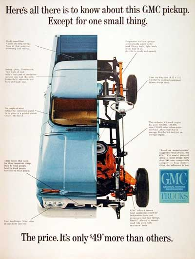 1965 GMC Pickup Truck original vintage advertisement. Photographed with unique cutaway view of the rugged chassis.