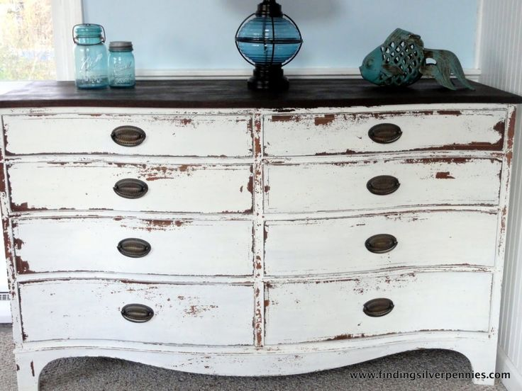 Get Inspired… | Miss Mustard Seeds Milk Paint Ironstone with a dark top.  Something like this but less chippy for our bedroom redo.