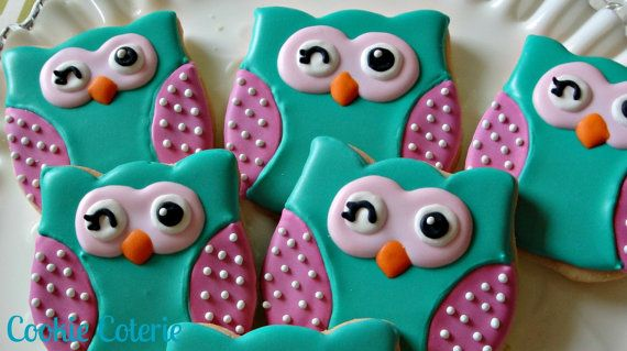 Winking Owls and Chevron Print Decorated Cookies by CookieCoterie