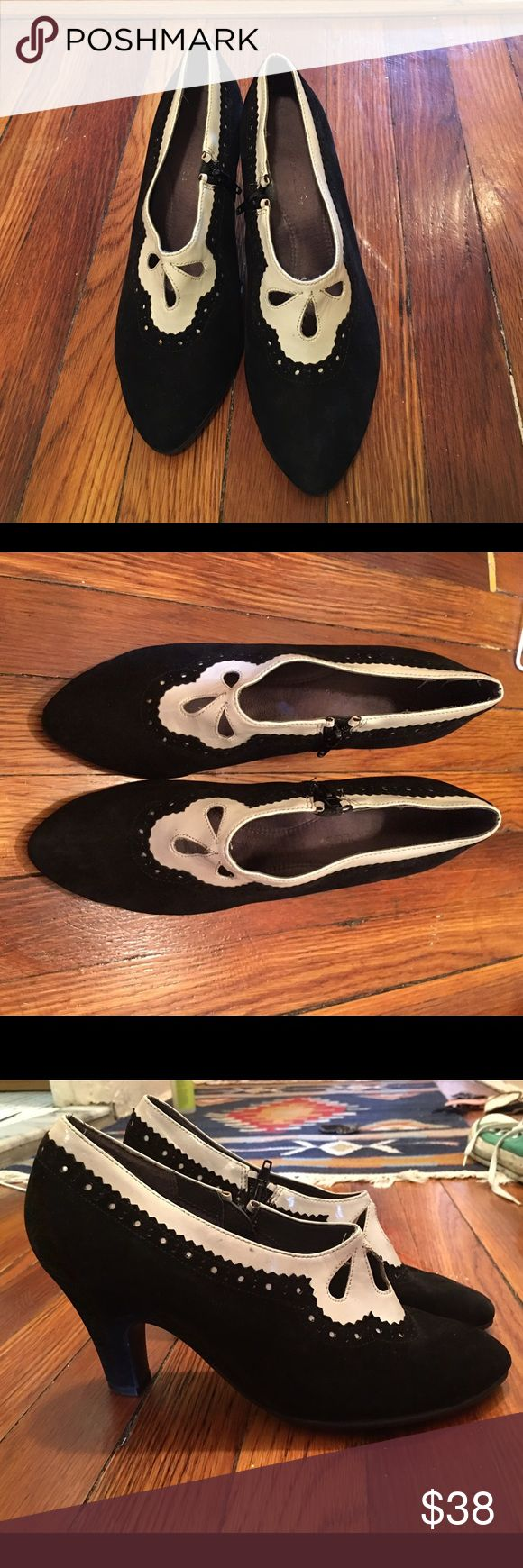 Beautiful tuxedo black suede boots - Size 8.5 Great boots for work or a fancy event. Black suede with white patten leather accents. VERY comfortable... And I almost never wear heels. A few scuffs but not noticeable. AEROSOLES Shoes Ankle Boots & Booties