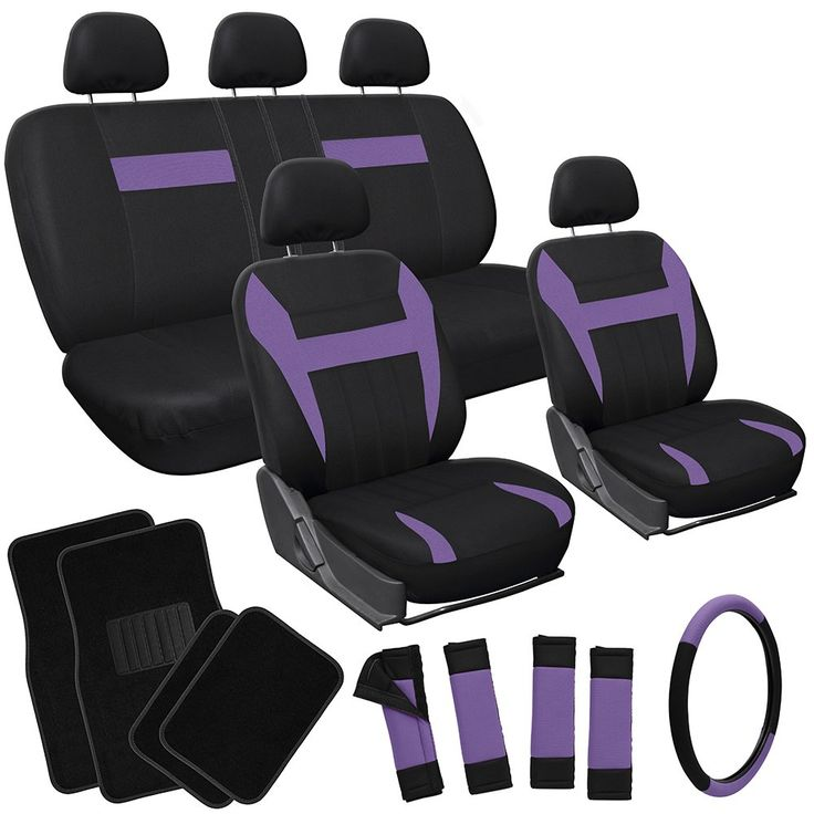OxGord 21pc Black & Purple Flat Cloth Seat Cover and Carpet Floor Mat Set for the Honda Accord Coupe, Airbag Compatible, Split Bench, Steering Wheel Cover Included