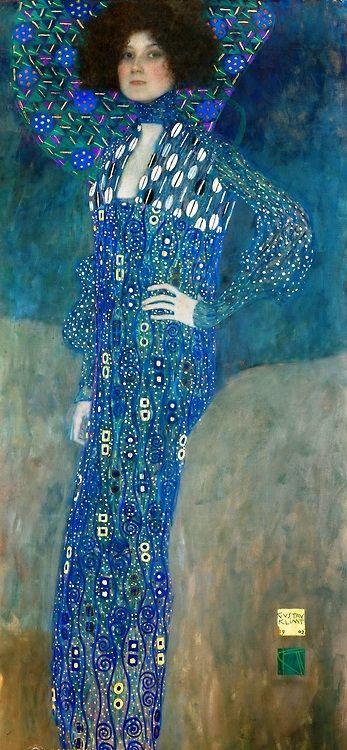 Gustav Klimt: Portrait of Emilie Flöge ,1902 , oil on canvas, 181x84 cm ,(28-year-old) , Wien Museum Karlsplatz,Vienna