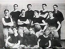 The 1899 University of Kansas basketball team, with James Naismith at the back, right.