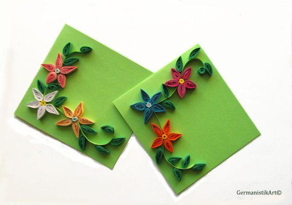 Primavera fiore carta, Set di 2 carte di compleanno con fiori Quilled