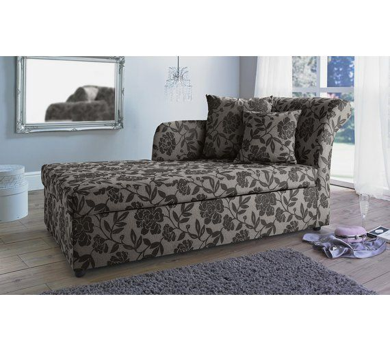 Buy HOME Floral 2 Seat Fabric Chaise Longue Sofa Bed - Charcoal at Argos.co.uk, visit Argos.co.uk to shop online for Sofa beds, chairbeds and futons, Living room furniture, Home and garden