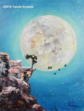 Girl playing saxophone with the moon – Acrylic on canvas