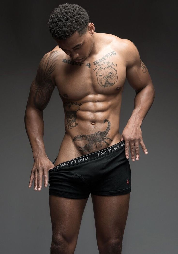 Attractive Handsome Black Male Model Tattoos Shirtless -6265