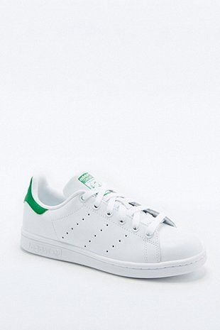 adidas Originals Stan Smith White and Green Trainers - Urban Outfitters
