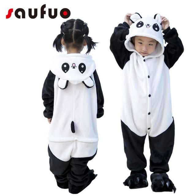 7a39102c Kigurumi Winter Anime Panda Pajamas For Kid Children Unisex Hoodie Cotton  Anime Flannel Pijama Bear cat Sleepwear Cartoon Pyjama