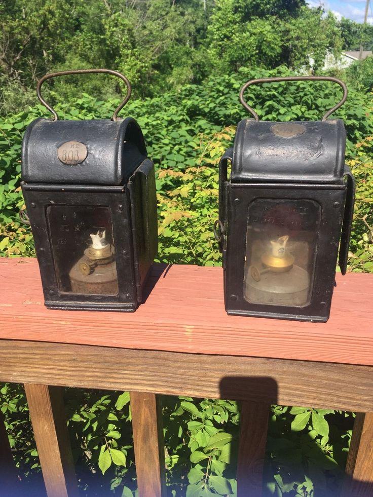 Pair Of Rare Antique Lanterns Heavy Steel