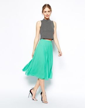 ASOS Pleated Midi Skirt comes in mint and yellow! Wear with top tucked in, maybe add wide belt?