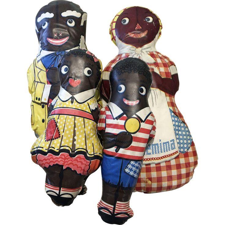 Set of 4 Vintage Oil Cloth Black African American Aunt Jemima Uncle Mose Diana Wade
