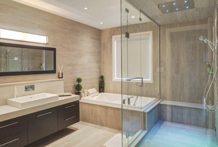 Oversized Walk-in Shower With Overhead Lighting