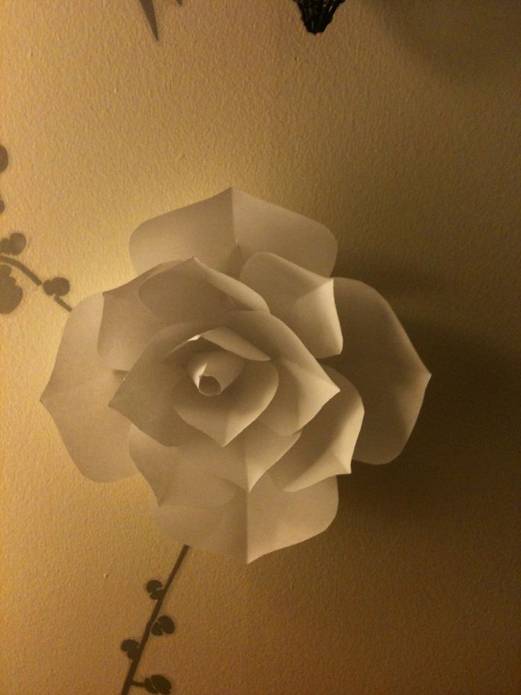 Paper flower with wall stickers decoration