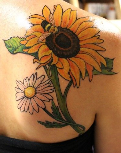 Sunflower tattoos ideas (maybe without the bee and the daisy!)