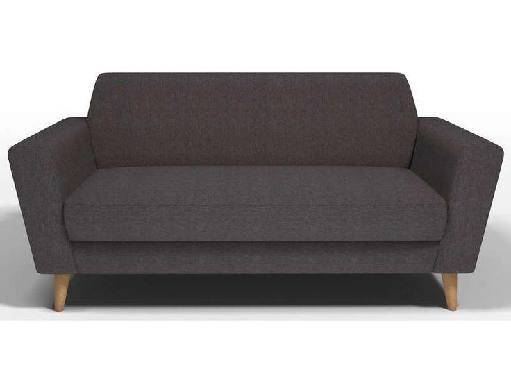 Canapé fixe 3 places IKONN coloris gris anthracite - Vente de Canapé droit - Conforama
