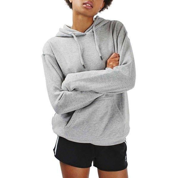 Petite Women's Topshop Slouch Hoodie ($48) ❤ liked on Polyvore featuring tops, hoodies, grey marl, petite, grey top, sweatshirt hoodies, slouchy tops, hooded pullover and petite hoodies
