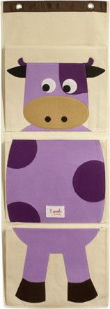 Organic Wall Pocket Organizer Cow Purple eclectic toy storage - for Stella's closet