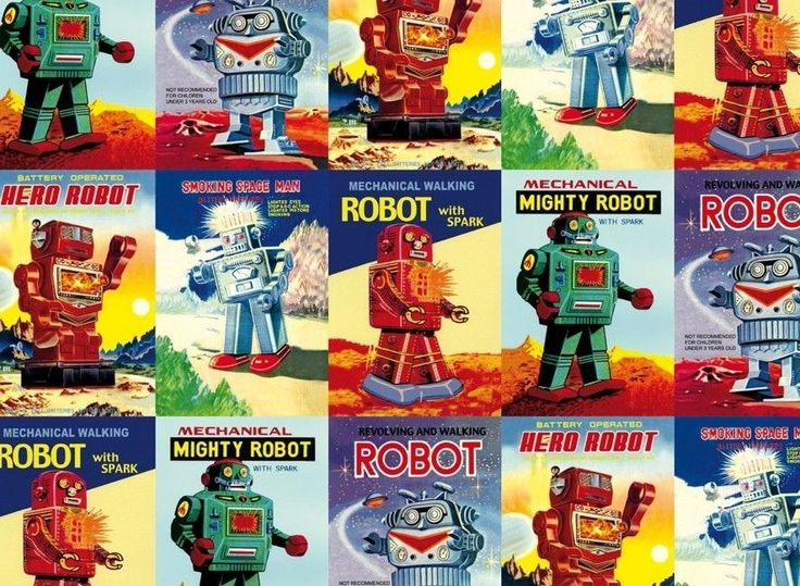 Rossi Vintage Robots Flat Wrap in Home, Furniture & DIY, Celebrations & Occasions, Gift Wrapping & Supplies | eBay