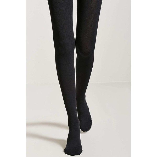Forever21 Ribbed Opaque Tights ($9.90) ❤ liked on Polyvore featuring intimates, hosiery, tights, black, opaque hosiery, ribbed tights, opaque pantyhose, forever 21 tights and opaque stockings
