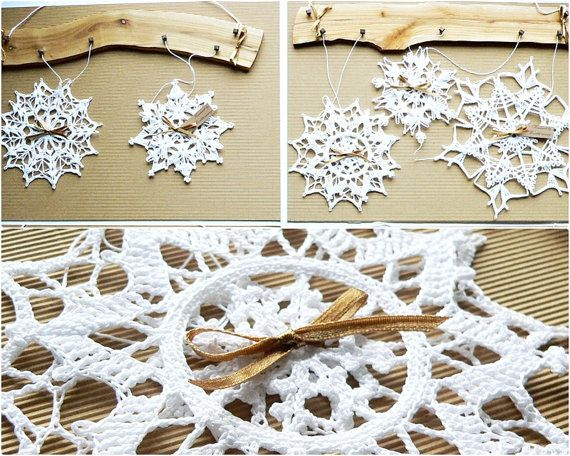 Snowflakes mobile Christmas decoration holiday by Woodstorming