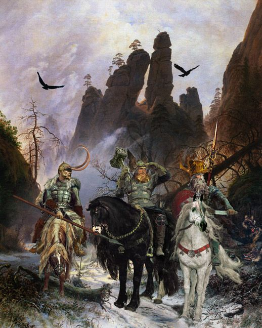 """The Giant Killers"" Odin, [far right] His son Thor, the god of thunder Old High German Donar- from whom Thor's day AKA Thursday is named is shown with his mighty hammer Mjolnir. Also accompanying them is Loki, half-giant [Jotunn] and half-Aesir."