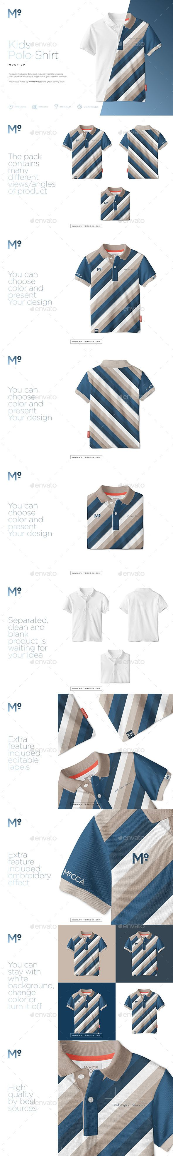 Kids Polo Shirt Mock-up - Apparel #Product #Mock-Ups Download here: https://graphicriver.net/item/kids-polo-shirt-mockup/19539426?ref=alena994