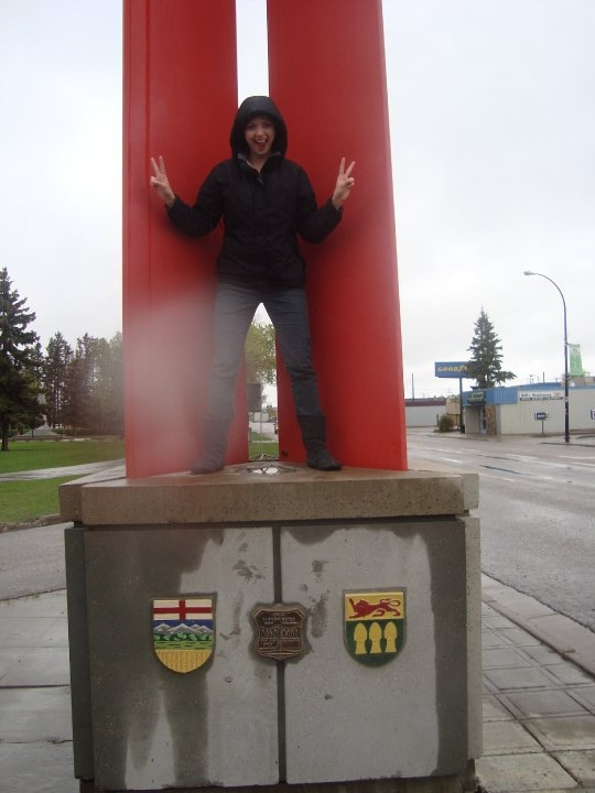 Being in two places at once? Possible!! (Alberta and Saskatchewan border)