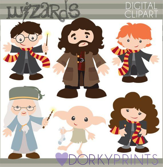 Wizards Clipart Set Personal And Limited Commercial Cute Etsy In 2021 Harry Potter Crafts Harry Potter Characters Clip Art