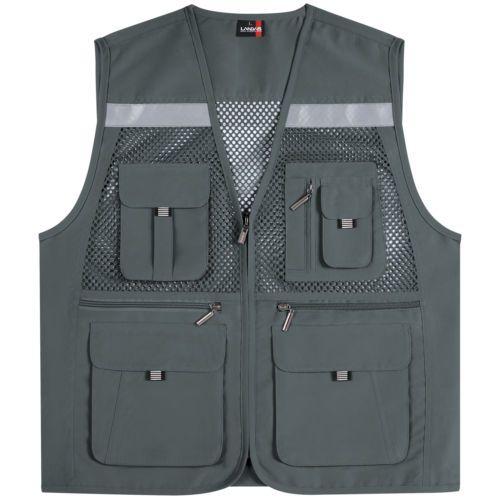 Multi bolsillos de malla Chalecos Sin Mangas Pesca Caza Seguridad Hi Vis trabajo Chaleco