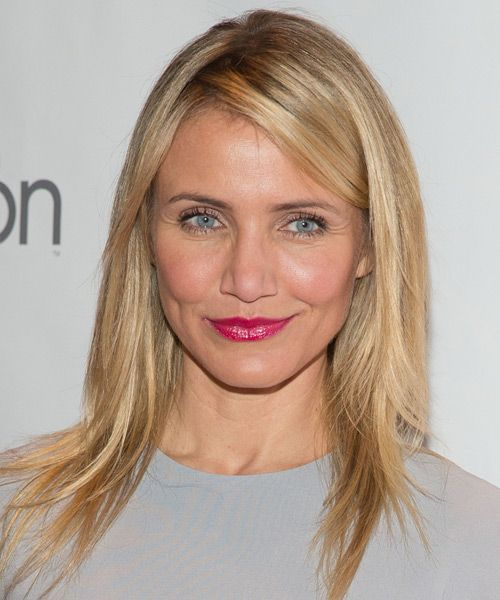 Cameron Diaz Long Straight Casual Hairstyle – Strawberry Blonde Hair Color with Light Blonde Highlights