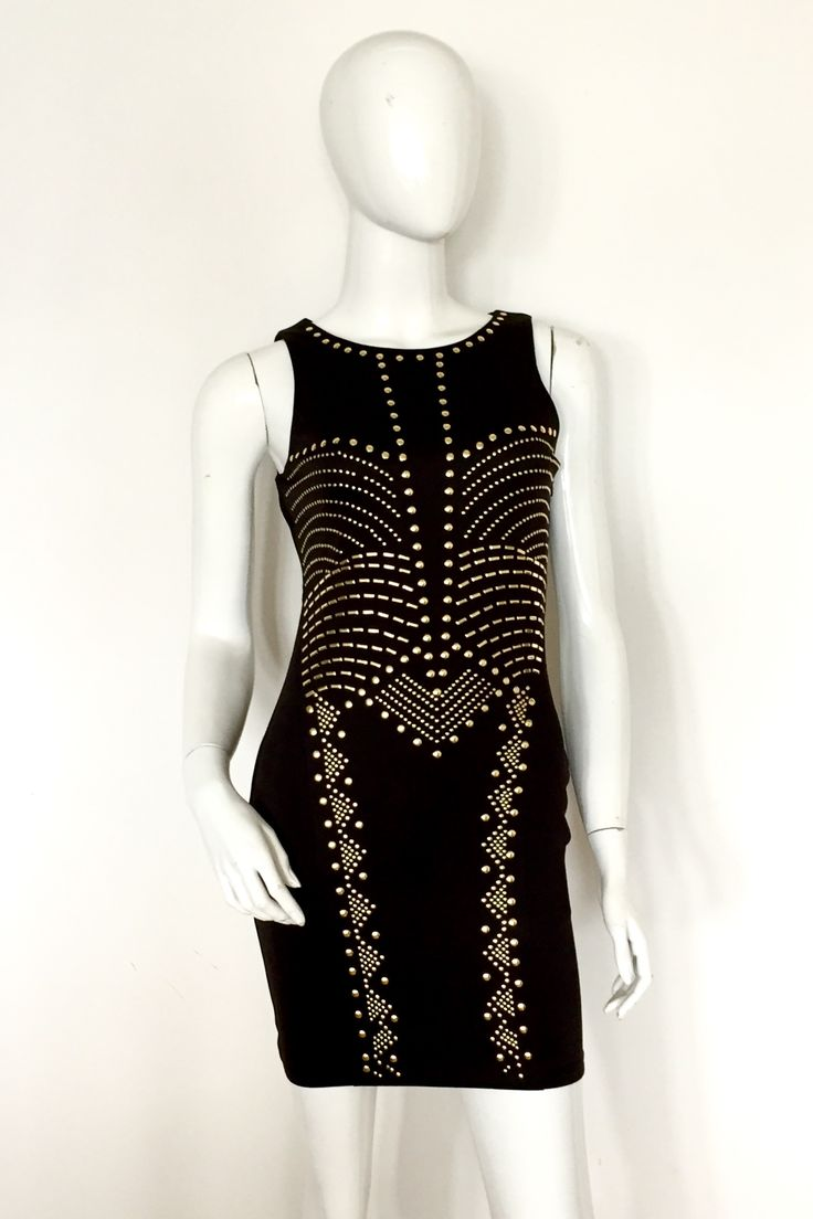 Black dress with gold beads size 10