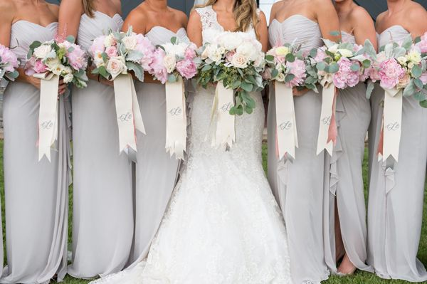 light gray bridesmaid dresses with monogrammed bouquet ribbons | Adam + Alli #wedding