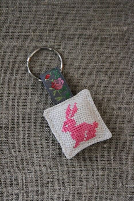 Cross stitch key ring