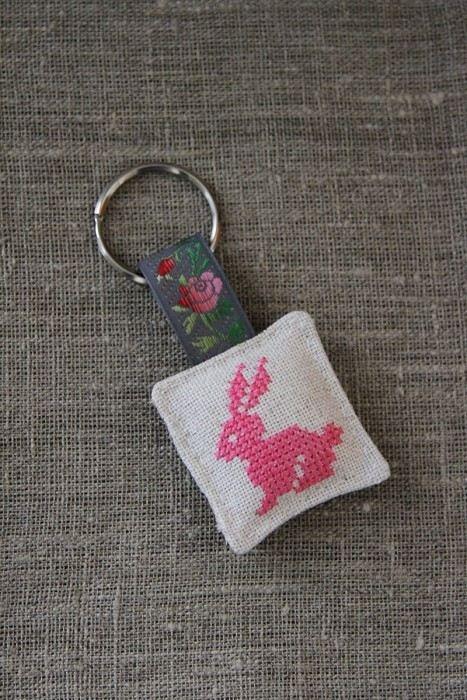 Cross stitch key ring
