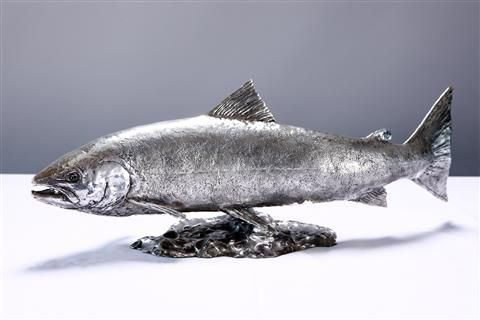 Stunning solid silver sculpture by David Williams Ellis | Silver Salmon available from our gallery www.rowlesfineart.co.uk