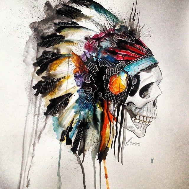 Headdress Skull • #watercolor #art #arte #aquarela #instalike #follow #skull #tattoo #drawing #draw #pen #brush #painting #paint #cocar #índio #colors #color #pincel #tinta #amazing #skull #head