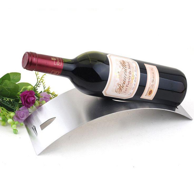 Modieuze Eenvoudige Curve Ontwerp Rvs Tafel Wijn rekken Houder Wijnrek Glaswerk Rack Fles Plank voor Home Party Restaurant