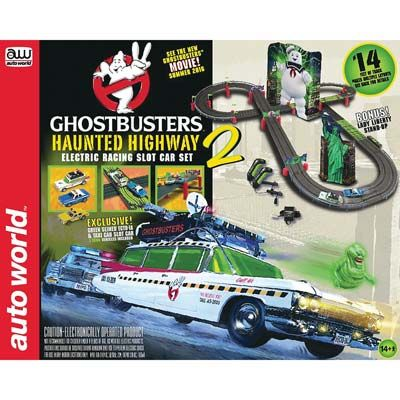 auto world ghostbusters haunted highway 14 electric racing slot car set
