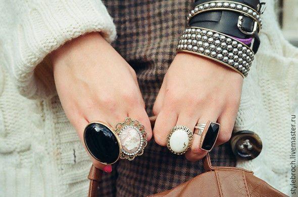 Купить Кольцо с камеей а-ля Винтаж - мятный, камея с девушкой, кольцо с камеей