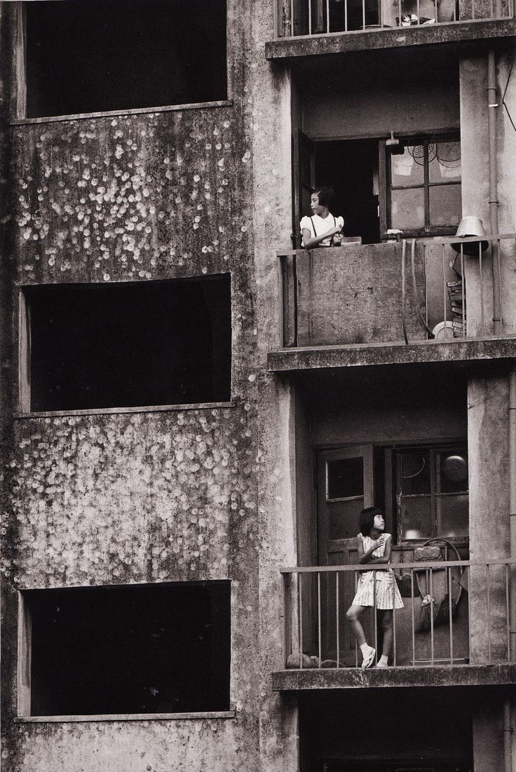 The first postwar municipal apartment buildings, Okubo Tokyo, 1961  photo by Nagano Shigeichi