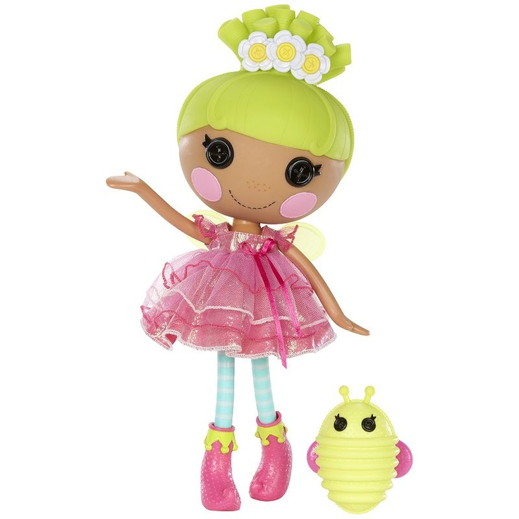 Lalaloopsy Pix E Flutters - was sewn from a real fairy's dress on 24th June (Fairy Day). She's a wishful-thinker who always looks on the bright side. She loves to float and flutter about and she thinks everything looks better covered in glitter. She has a pet firefly.