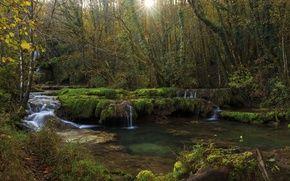 Обои Jura, Франция, водопад, деревья, Franche-Comte, ручей, лучи солнца, лес