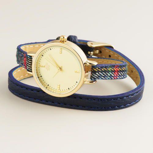 Blue Plaid Wrap Watch | World Market