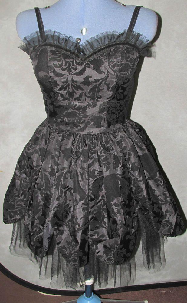 Hell Bunny Ladies size 10 Black dress flocked short length strappy neckline.
