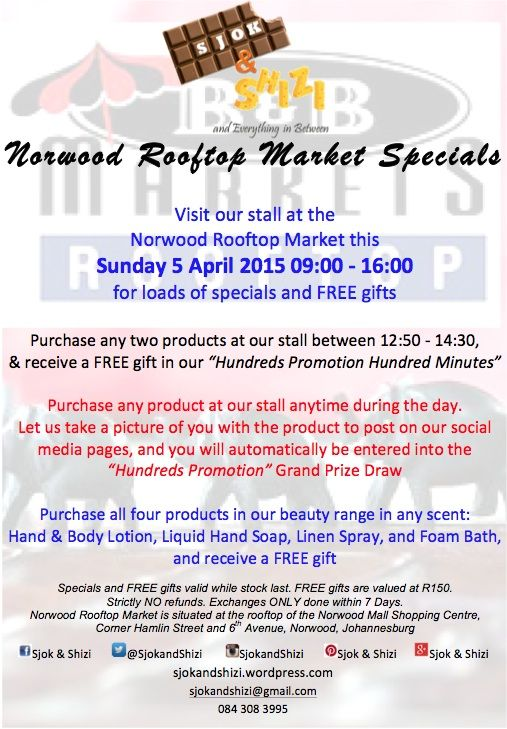 Norwood Rooftop Market, this Sunday 5th April 2015 9am - 4pm. Visit us for Loads of Specials and Free Gifts